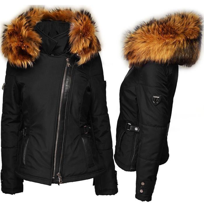 eb502599fb Ventiuno Veste Perfecto Emily noir Bi-matière fourrure véritable et cuir - doudoune  ventiuno, fourrure, veste, doudoune, cuir, femm