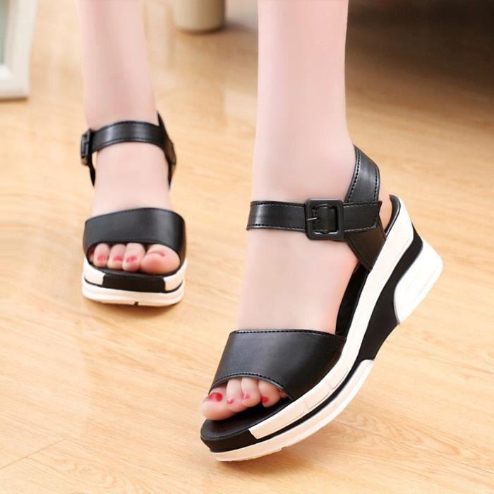 Unie Noir 39 toe Pour Chaussures Couleur Sandales Peep Femme Iqn4x40C6w