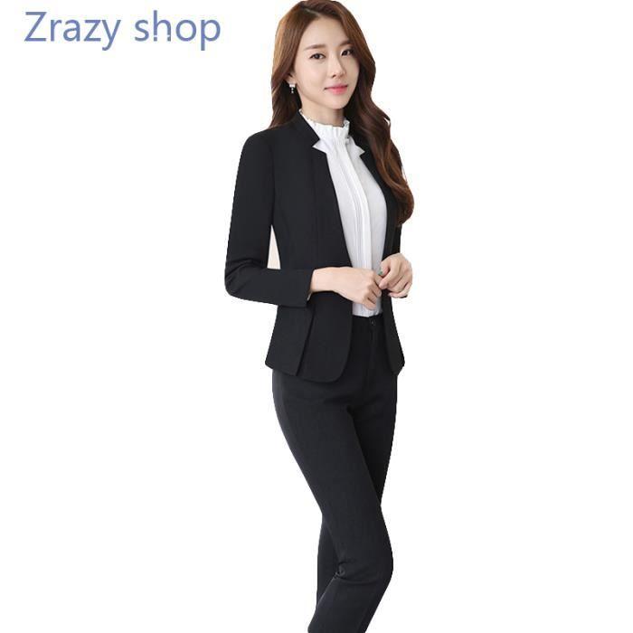 e7d701d416b2c (Veste+Chemises+Pantalon) Costume Femme Marque Luxe Veste de costume Femme  Blazer Femmes Pantalon de costume Chemises Vêtements - No