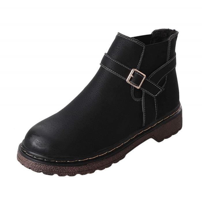 8e1a67224717 Bottine Femmes Plates Boots Femme Cheville Basse Cuir Bottes Talon Chelsea  Chic Compensé Grande Taille Chaussures 2cm Beige Rose