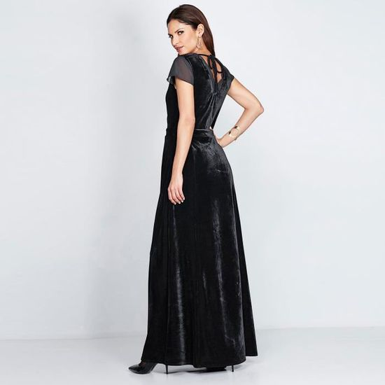 d14a128559f Robe longue manches courtes en velours femme Noir Noir - Achat   Vente robe  - Cdiscount