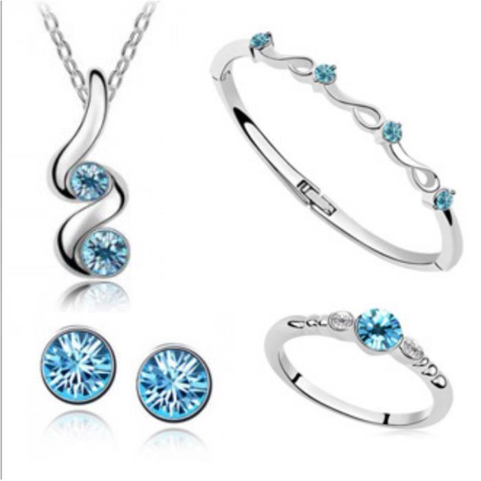 FMAILY® famille autrichienne de cristal de quatre (collier + boucles doreilles + bracelet + Ring) (blanc)