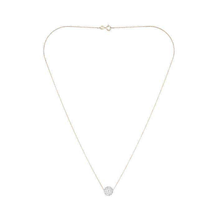 Mes-bijoux.fr - Collier Femme Bulle de crystal Or Jaune 375/1000 - CH92052Jgv