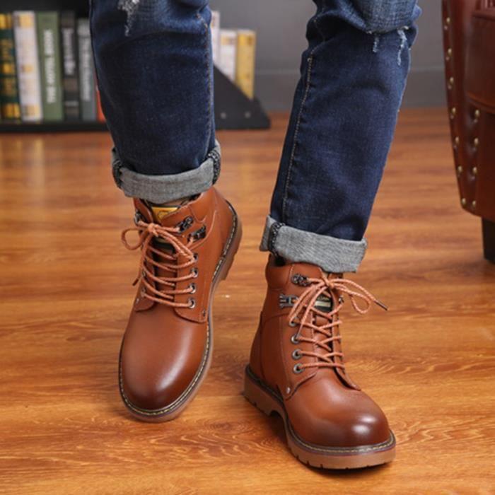 Botte Homme coréenne High Top en cuir de vache Lace Up Vintage cheville hommes marron taille10