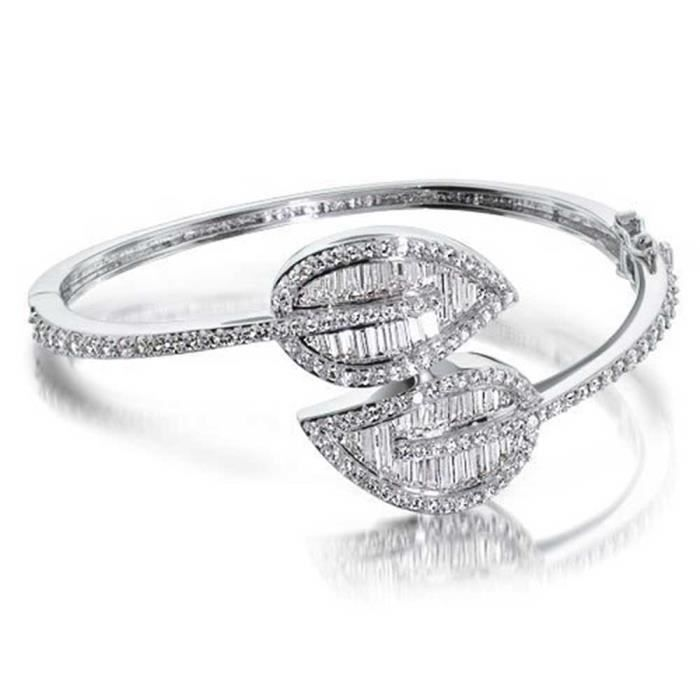 Bling Jewelry Bracelet vigne éternelle Double feuille avec CZ Bracelet 7 pouces