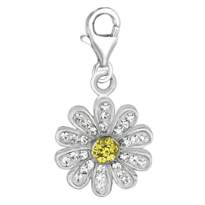 Charme- Clip cristal argent sterling charme Daisy