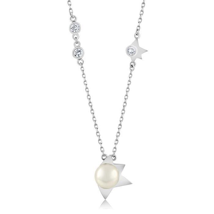 Pendentif en Argent 925 - Perle de culture deau douce et Zirconia
