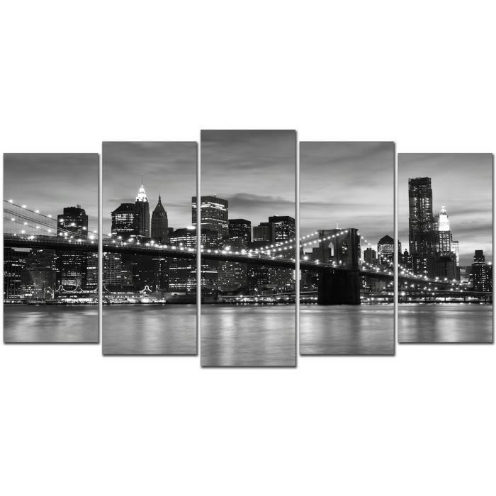 Tableau toile cadre new york la nuit 200x100 cm 5 pi ces - Tableau toile new york ...