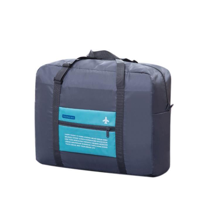 sac voyage nylon imperm able pliable zipper pochette de rangement bleu bleu achat vente sac. Black Bedroom Furniture Sets. Home Design Ideas
