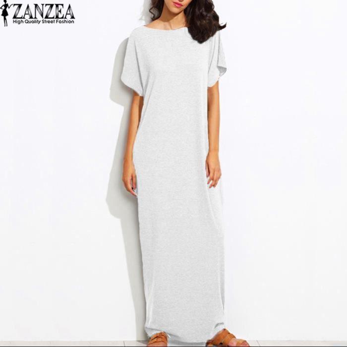 ZANZEA Robe Longue Femmes Mode Décontractés Poche Rond Col Court Manche