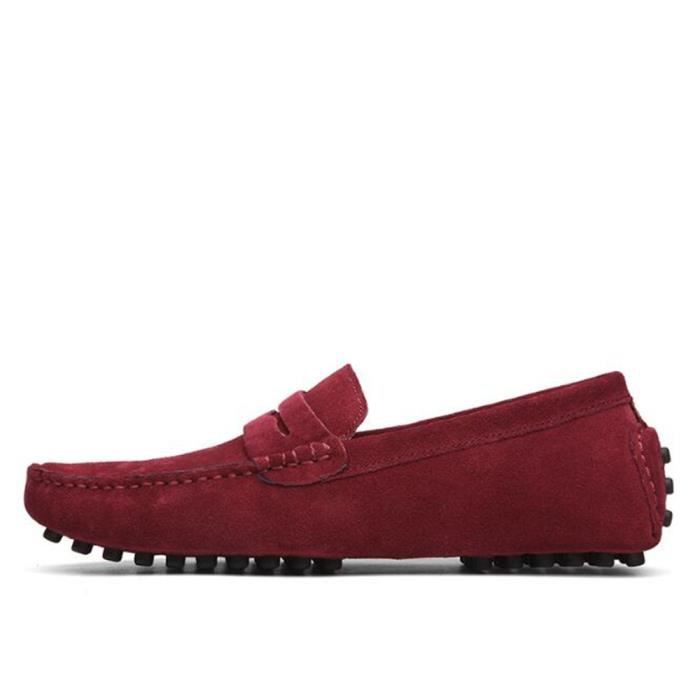 Mocassins Hommes Cuir Ultra Comfortable Appartements Chaussures MMJ-XZ071Rouge44