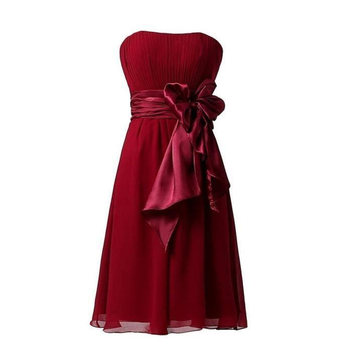 longue Large Bustier Avec orange La Couleur Ceinture De rouge Robe blanc Soirée Femme A bordeaux bleu Line Uni Exdiscount Mi Noir jaune violet TIqPWF