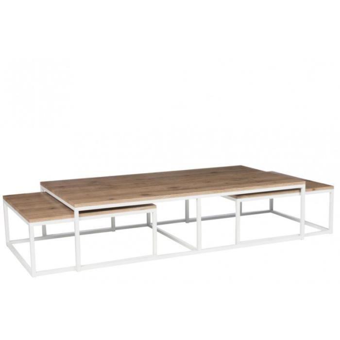 Table Basse Gigogne Boismétal Gaby L 150 X L 80 X H 38 Achat