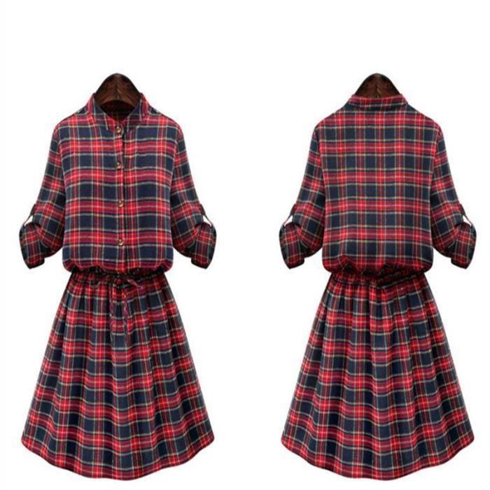Robe femmesSlimCasualplaid