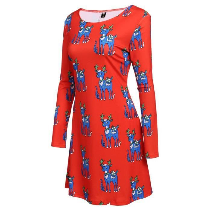robe a-line manches longues Femmes casual Noël cerfs imprimer O-cou