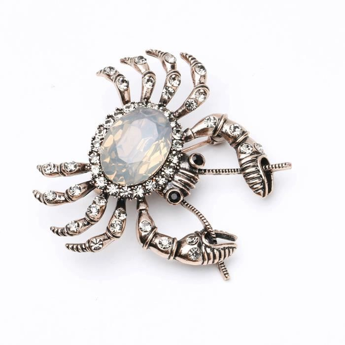 Womens Antique Gold Tone Vintage Crab Brooch With Crystal Rhinestone SFTER