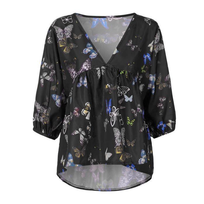 Vrac V Papillon gt;1076 Longues Femmes T Occasionnels cou Imprimer shirt Manches En Chemisier Bouffantes rzwXOrx