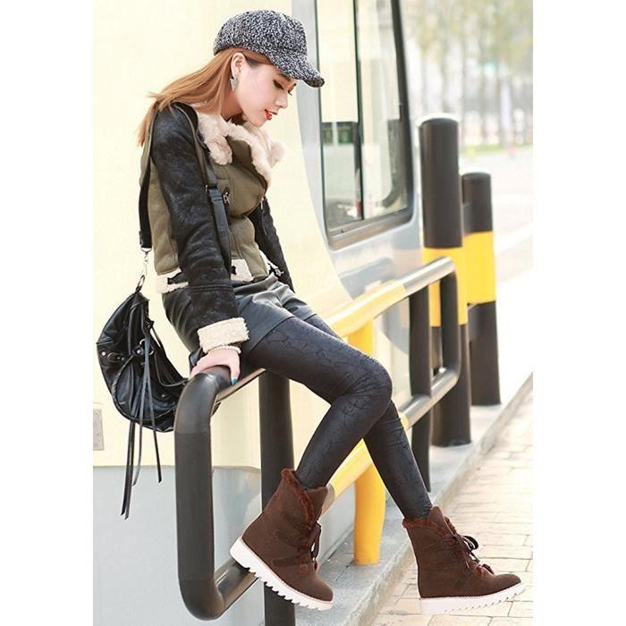 Minetom Femmes Automne Et Hiver Plat Bottines Chaud Fourrure Bottes De Neige Lace-up Chaussures 3HU2aTE4Je