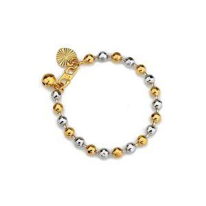 BRACELET - GOURMETTE Bracelet bébé plaqué or jaune et blanc 18 carats
