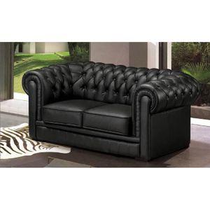Canapé 2 places chesterfield cuir noir - Achat   Vente canapé - sofa ... 94b05c13f774