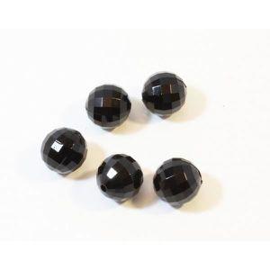 Perles Lot de 5 perles noires à facettes en acrylique - s