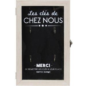 ARMOIRE - BOITE A CLÉ Boite à clés - Bois - 19 x 30 cm - Noir et beige