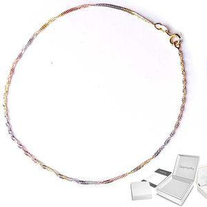 CHAINE DE CHEVILLE DIAMANTLY Chaine de cheville tricolore or 18 carat