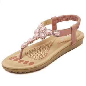 SANDALE - NU-PIEDS Doux tongs la femme chaussures plates en strass sa a0de3e3ddae8