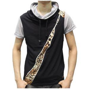 T-SHIRT T-shirt homme zippé léopard noir