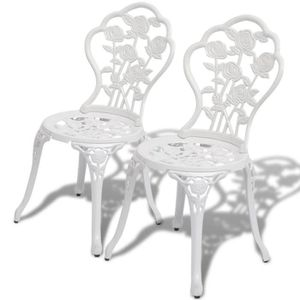 FAUTEUIL JARDIN  Chaise de bistro 2 pcs Blanc Lot de 2 Chaises Chai