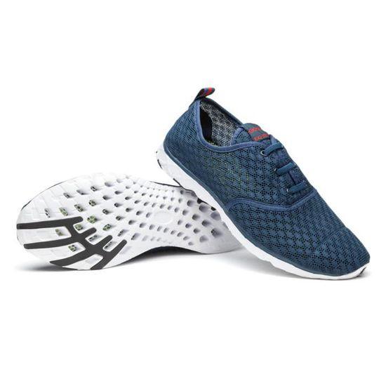 Chaussure hommes sport ete 2017 brand baskets Nouvelle Mode chaussures Confortable Durable Antidérapant Grande Taille mocassins Bleu Bleu - Achat / Vente basket