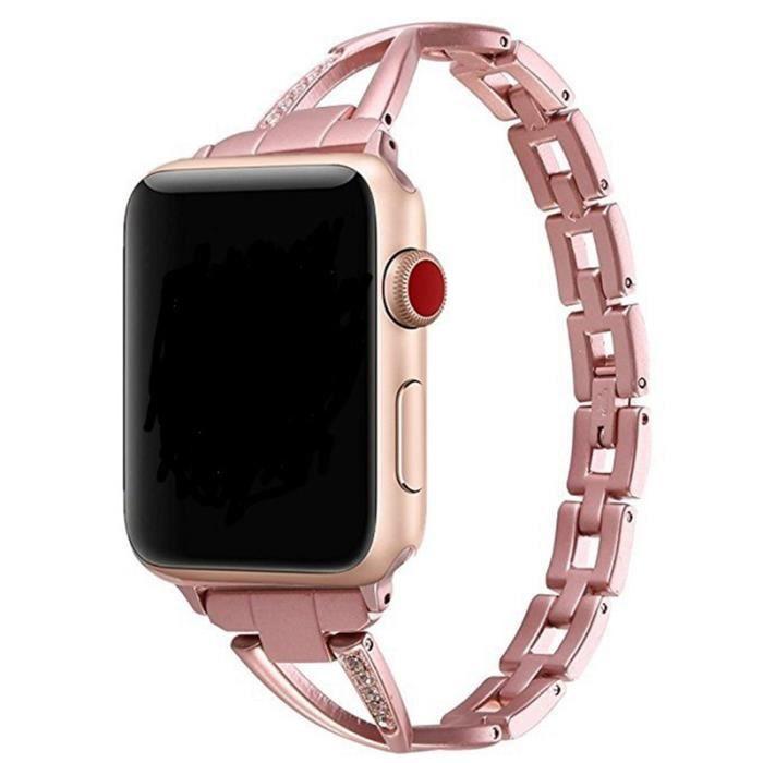 Femmes Montre Bande Pour Apple Watch Bandes 42 MM Réglable Bracelet En  Acier Inoxydable Pour Iwatch Série 3 2 1 Bracelet Rose