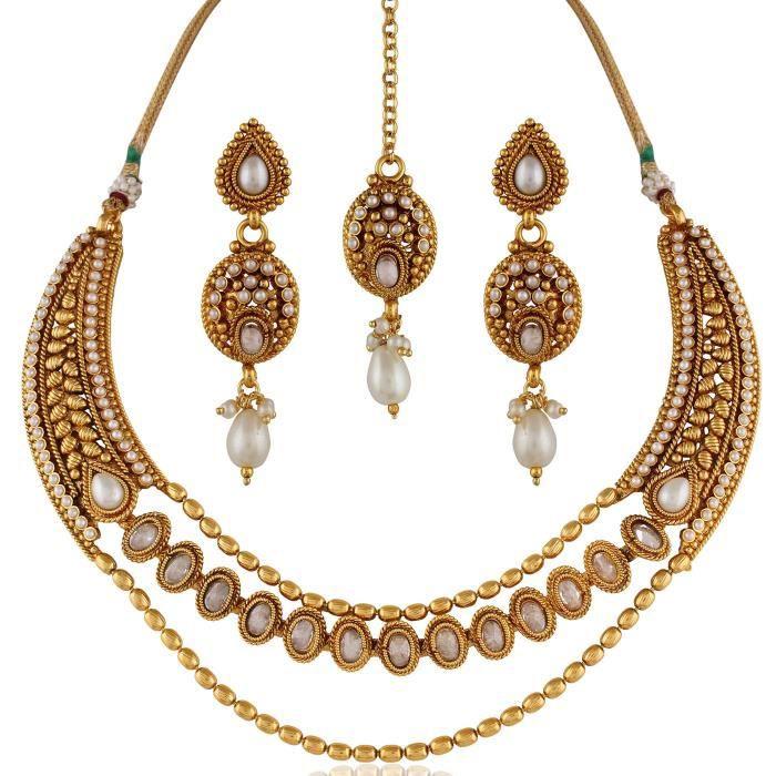 Femmes Rajwadi Antique américain Diamant Perle Necklaceset et boucles doreilles J20W6