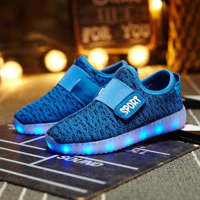 33'' Chaussures avec Lumineux 7 Couleurs du changement pour Enfant - Bleu