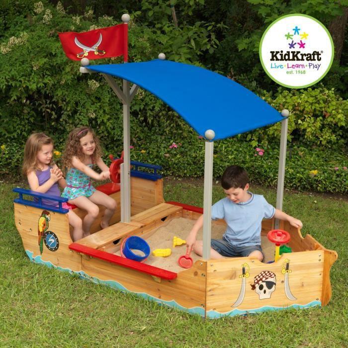 bac sable enfant en bois forme de bateau pirate achat. Black Bedroom Furniture Sets. Home Design Ideas