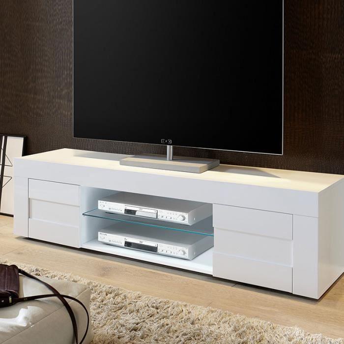 design de qualité ef4ae c42f9 Banc tv blanc laqué brillant TUNIS 180 cm