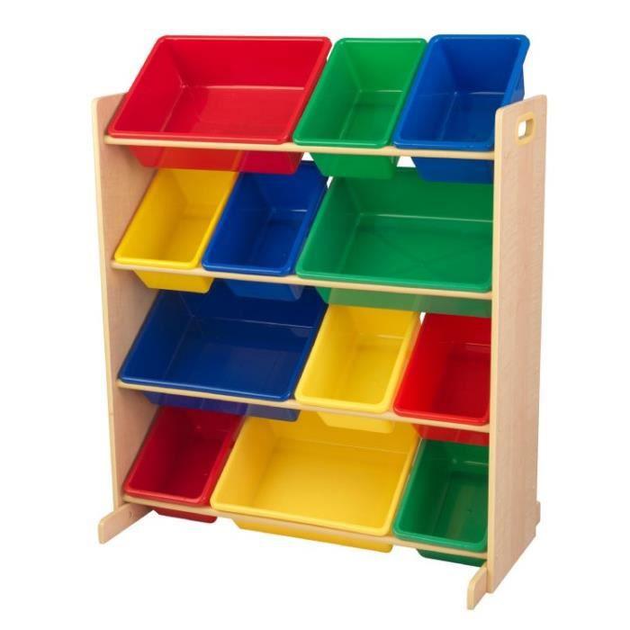 meuble avec bacs de rangement couleurs primaires achat vente coffre jouets cdiscount. Black Bedroom Furniture Sets. Home Design Ideas