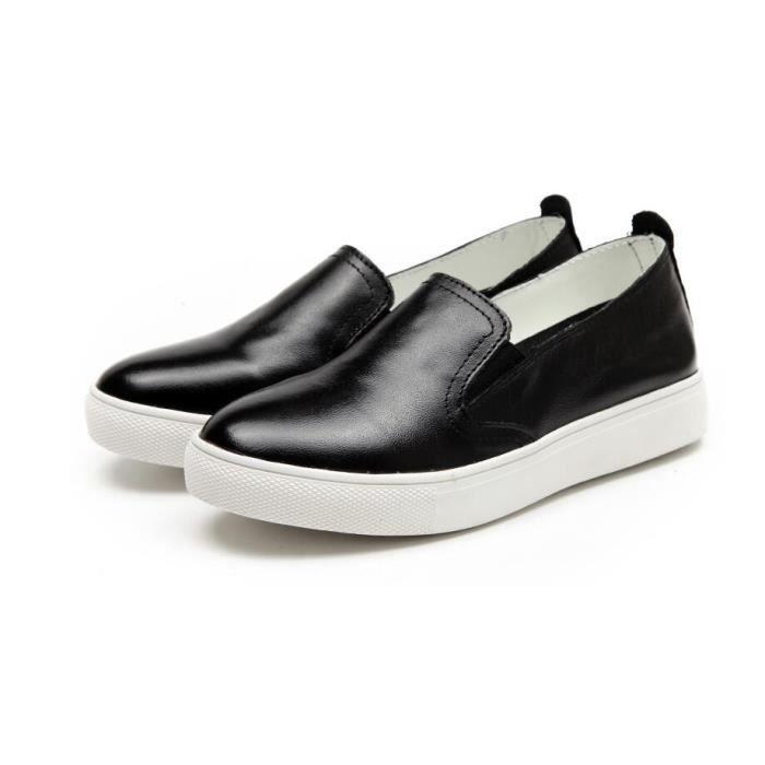 406978e43c7 Femme cuir mocassin chaussures slip on noir Noir TU - Achat   Vente ...