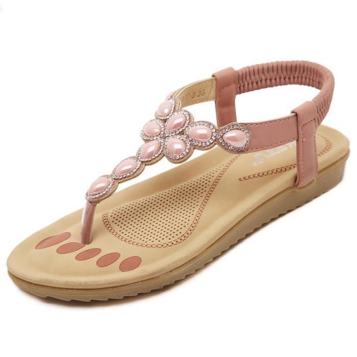 Doux tongs la femme chaussures plates en strass sandales hzJ7mQnQ3