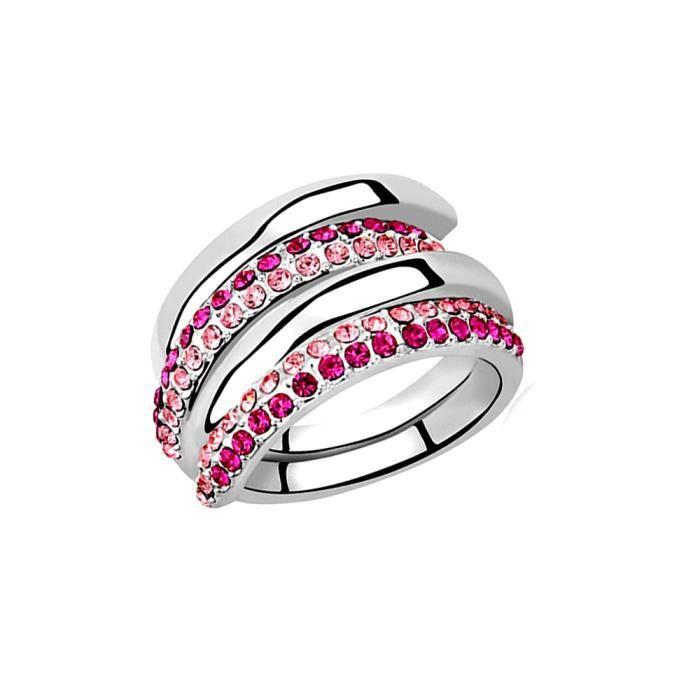 Bague Multi Rangs Cristal de Swarovski Elements Rose - Blue Pearls