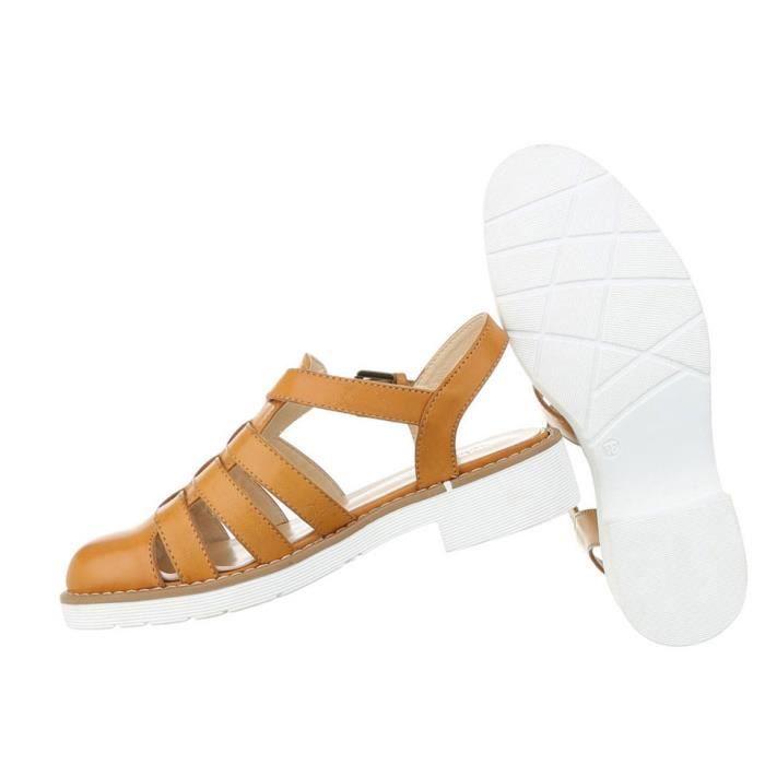 Femme sandales chaussures chaussures de plage chaussures d'été Strappy escarpin Camel 41