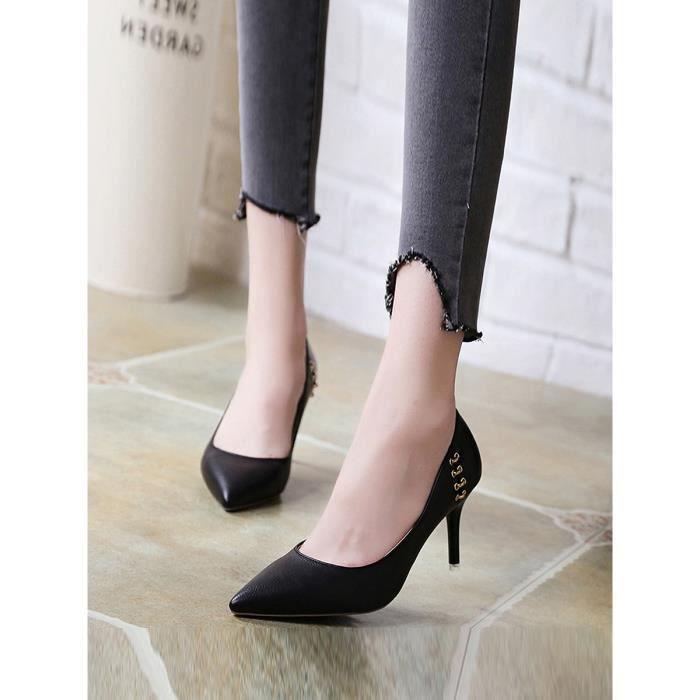 Escarpin Pointu Toes Pompes boucle en métal Sexy Elegance à talons hauts Chaussures femme 8104734
