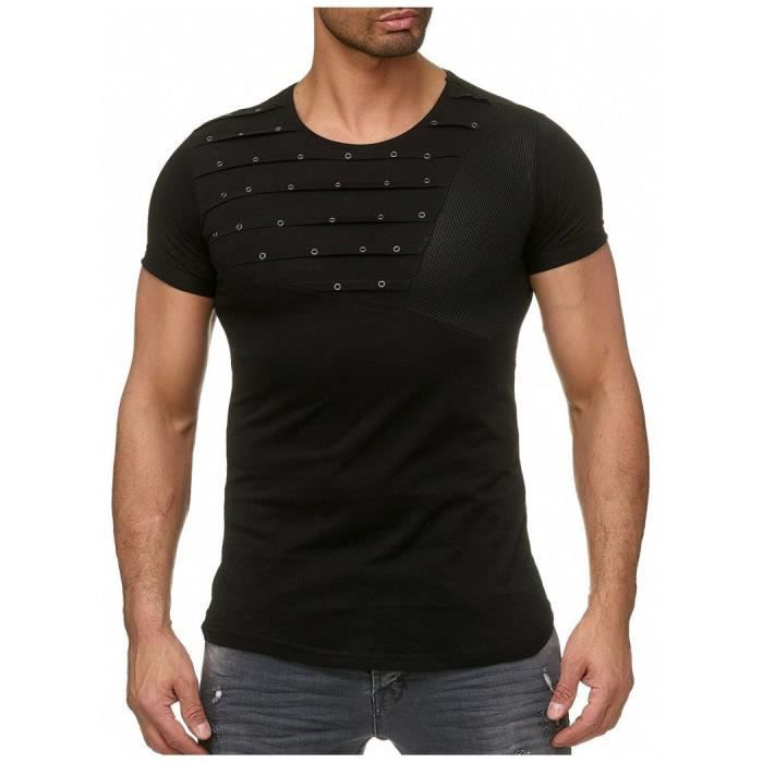 66946e20f03 T shirt slim clouté noir homme Noir Noir - Achat   Vente t-shirt ...