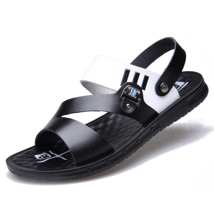 197ba896c52d31 IZTPSERG Sandales sport Homme Noir Noir - Achat / Vente sandale - nu-pieds  - Cdiscount