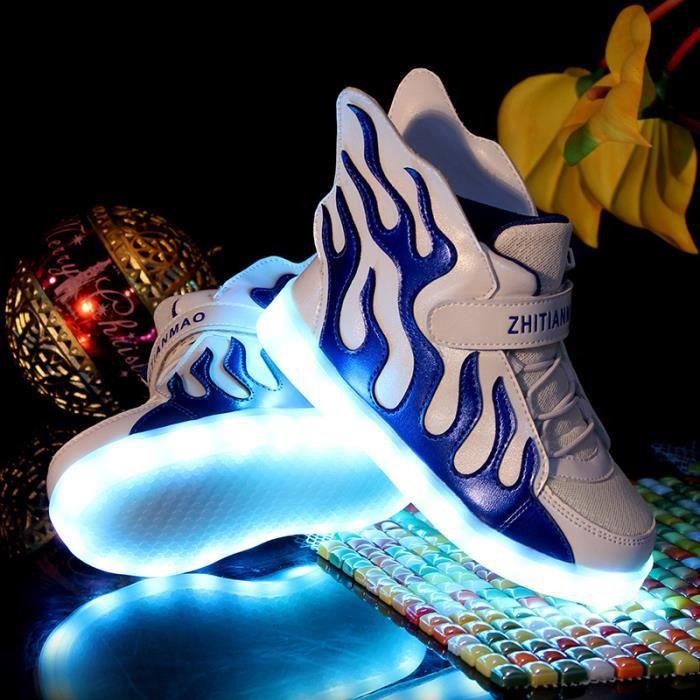 Enfant 7 Couleur Flamme USB Charge LED Lumière Lumineux ClignotantsChaussures de Sports Baskets Garçon Fille Bleu