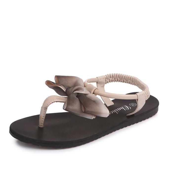 Peep Sandales 6518 Flops Chaussures Kaki Femme Bowknot xiezi Flip Plates Loisirs toe Femmes Bohême pzX6qq