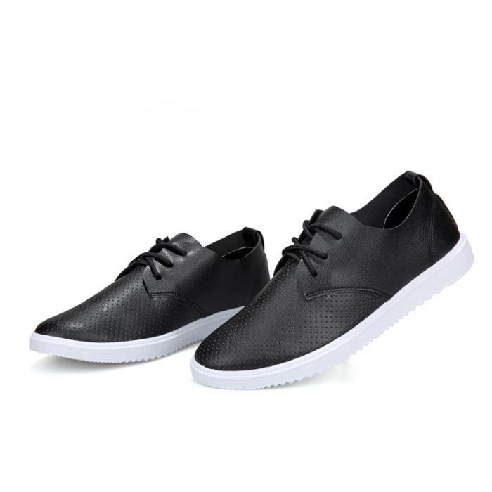 Chuassures Hommes Cuir Printemps Ete Classique Occasionnels Chaussures BLLT-XZ084Noir39