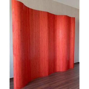 PARAVENT Paravent design en bambou 200 x 250 cm rouge PAR06