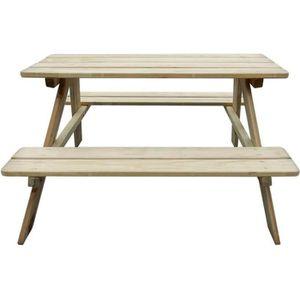 SALON DE JARDIN  Festnight Table de pique-nique en bois Table de ja