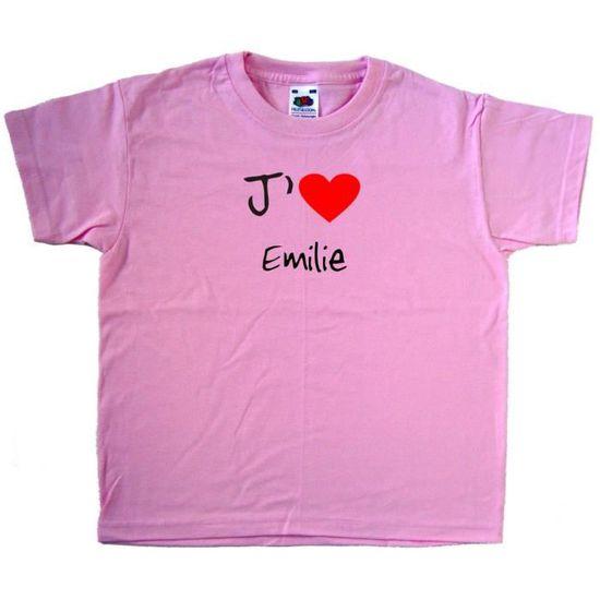 c5d4c6540be07 T-Shirt enfant J aime Emilie Rose - Achat   Vente t-shirt - Cdiscount